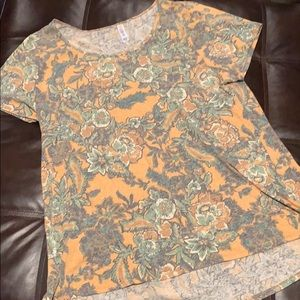 LuLaRoe 3X Classic Tee Gold and Green Floral